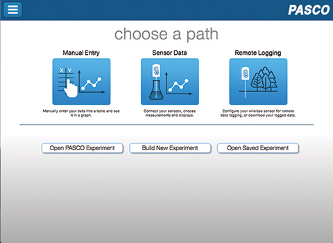 SPARKvue Choose a Path Screen